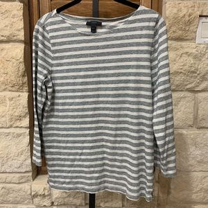 J Crew gray/white Striped 3/4 Length Top Sz. M